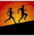 Men and Women Running Silhouette vector image vector image
