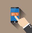 hand buy on smartphone vector image