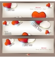 set of three banners with hearts valentines day ba vector image