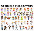 Fifty simple characters young and old vector image vector image