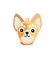 cute little dog face funny cartoon animal vector image