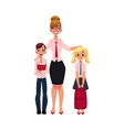 Female teacher and students - boy and girl vector image