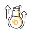 Hand with a money bag single icon vector image