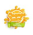 Orange juice natural label splash vector image