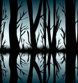 Trees reflecting in the water vector image