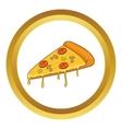 Salami pizza slice icon vector image