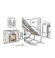 Modern interior hand drawn sketch vector image