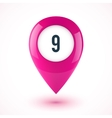 Pink realistic 3D glossy map point symbol vector image vector image
