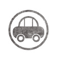 Car icon with pixel print halftone dots texture vector image