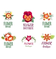 Flower logo Set - Isolated On white Background - vector image