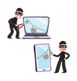 hacker and giant laptop and phone with padlock vector image