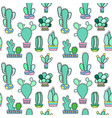 mint cactus seamless pattern on white vector image