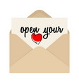 open your heart drawing inscription and opened vector image
