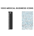 Ruler Icon with 1000 Medical Business Pictograms vector image