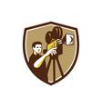 Movie Director Movie Film Camera Shield Retro vector image