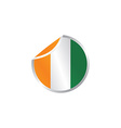 glossy theme ivory coast national flag vector image