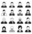 16 characters black icons set vector image
