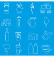 milk and milk product theme outline icons set vector image