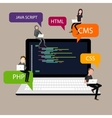 Programming in laptop screen PHP HTML CSS vector image