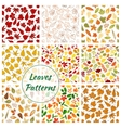 Seamless patterns of trees leaves vector image