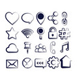 set of social media sketch icons vector image