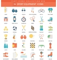 Sport equipment color flat icon set vector image