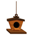 Wooden birdhouse hanging on rope vector image