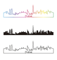 Dubai skyline linear style with rainbow vector image