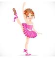 Brunette ballerina girl dancing in pink dress vector image vector image