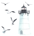 Watercolor lighthouse and seagulls vector image