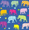 Patterned elephants background for kids vector image