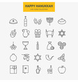 Line Jewish Happy Hanukkah Icons Big Set vector image