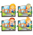 Four students in uniform at school vector image
