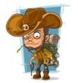 Cartoon crafty man in cowboys hat vector image