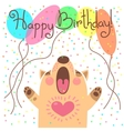 Cute happy birthday card with funny puppy vector image