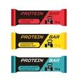 Different protein bars sport collagen supplement vector image