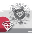 Paper and hand drawn diamond emblem with icons vector image