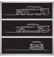 Set of classic car silhouettes in american style vector image