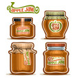 apple jam in glass jars vector image