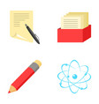 A pen with paper a catalog in a box a red pencil vector image