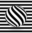 Abstract globe from black and white stripes vector image
