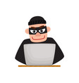 hacker in black mask using laptop for computer vector image