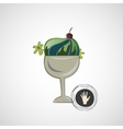 sketch delicious dessert in a glass bowl vector image