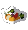 sticker of colorful variety of fruits and vector image