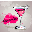 Hand drawn cocktail cosmopolitan vector image