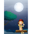 A girl sitting on a wood in a moonlight scenery vector image