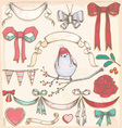 Hand Drawn Vintage Bird Ribbons and Bows Set vector image vector image