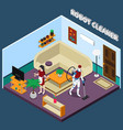 robot housewife and cleaner professions vector image