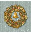 Retro Christmas wreath vector image