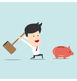 Business man use hammer try to break piggy bank vector image vector image